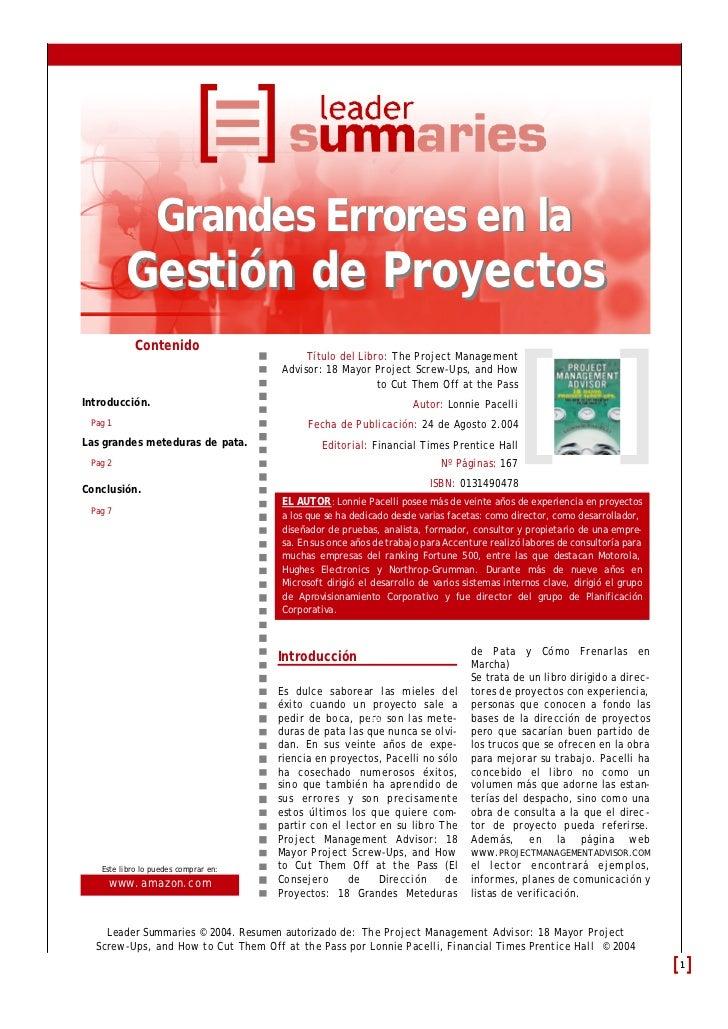 Grandes Errores en la         Gestión de Proyectos            Contenido                                           Título d...