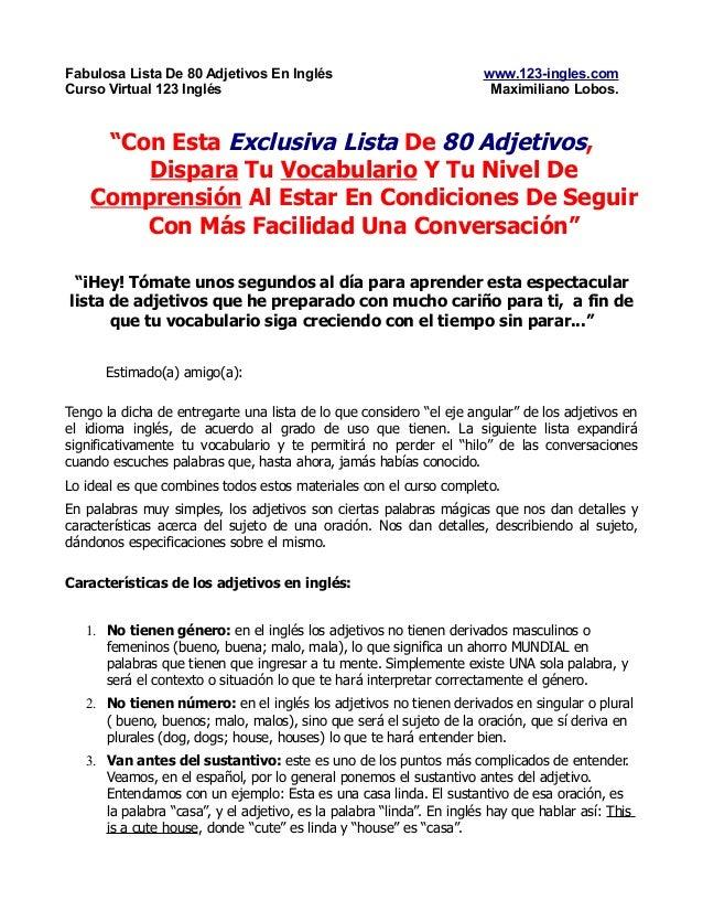 Fabulosa Lista De 80 Adjetivos En Inglés                               www.123-ingles.comCurso Virtual 123 Inglés         ...