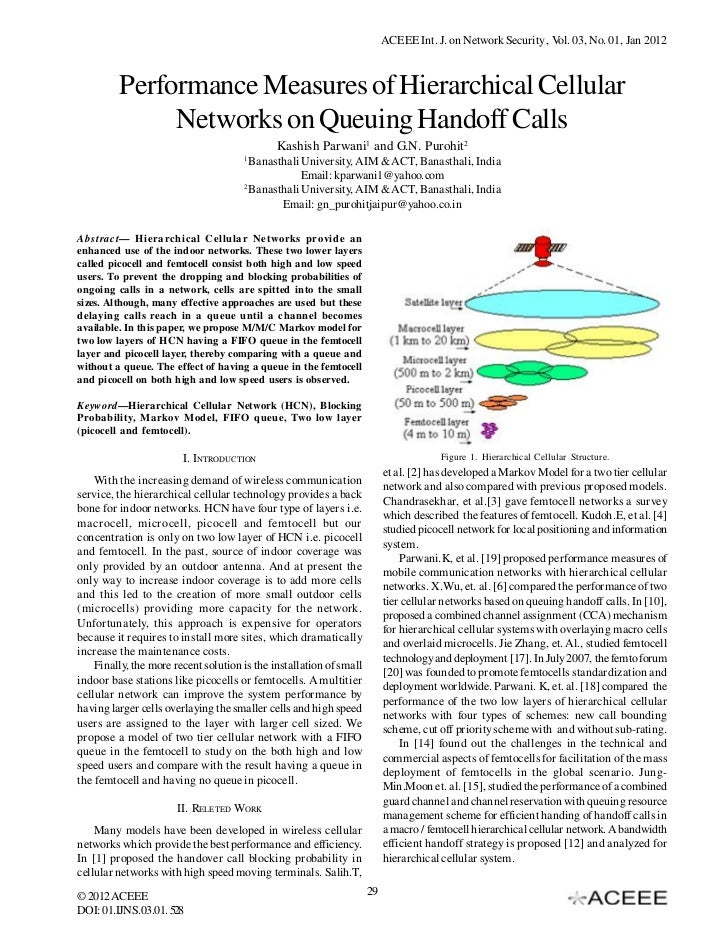 ACEEE Int. J. on Network Security , Vol. 03, No. 01, Jan 2012         Performance Measures of Hierarchical Cellular       ...