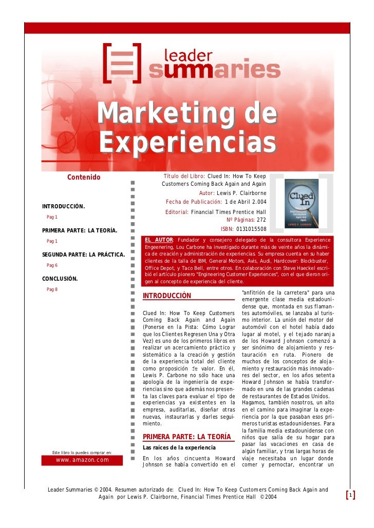 Marketing de                          Experiencias           Contenido                          Título del Libro: Clued In...