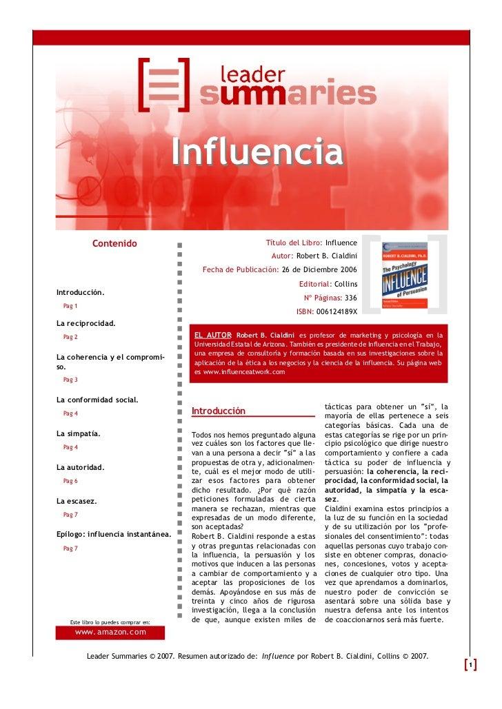 Influencia           Contenido                                          Título del Libro: Influence                       ...