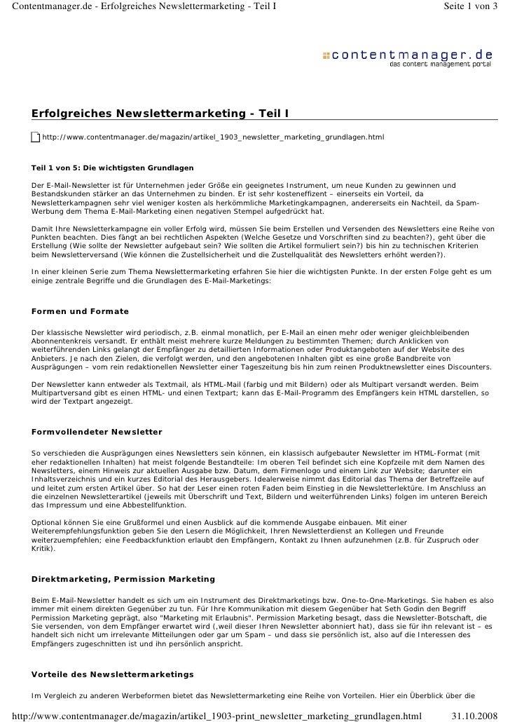 Contentmanager.de - Erfolgreiches Newslettermarketing - Teil I                                                        Seit...