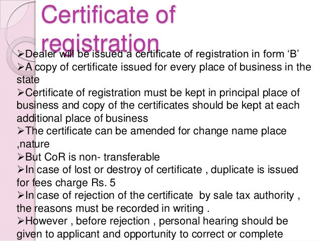 Firm Registration Certificate Certificate of Registration of