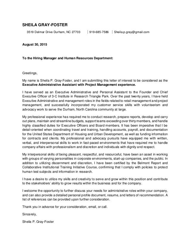 cover letters for administrative assistant positions template project