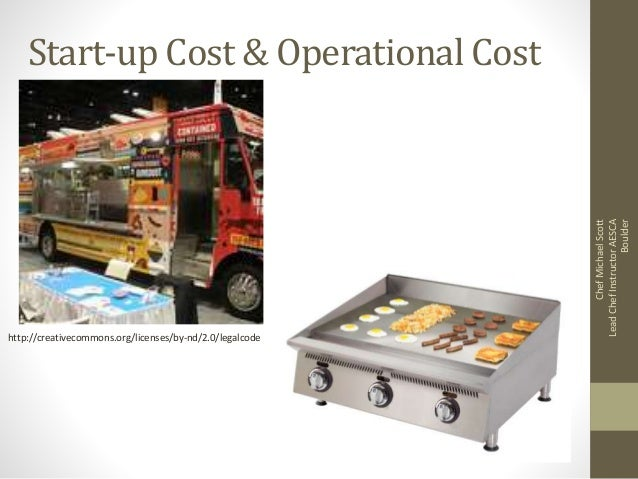 Start-up Cost & Operational Cost http://creativecommons.org/licenses/by-nd/2.0/legalcode ChefMichaelScott LeadChefInstruct...