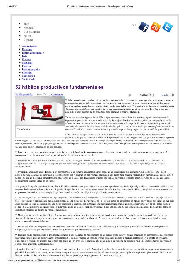26/06/13  52 hábitos productivos fundamentales - PlanEmprendedor.Com  Inicio Apólogos Curso De Ingles Publica Contacto  73...
