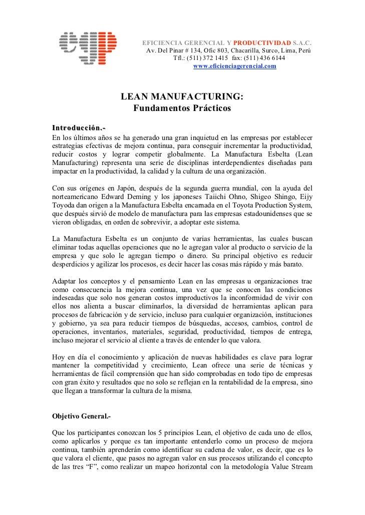 EFICIENCIA GERENCIAL Y PRODUCTIVIDAD S.A.C.                                Av. Del Pinar # 134, Ofic 803, Chacarilla, Surc...