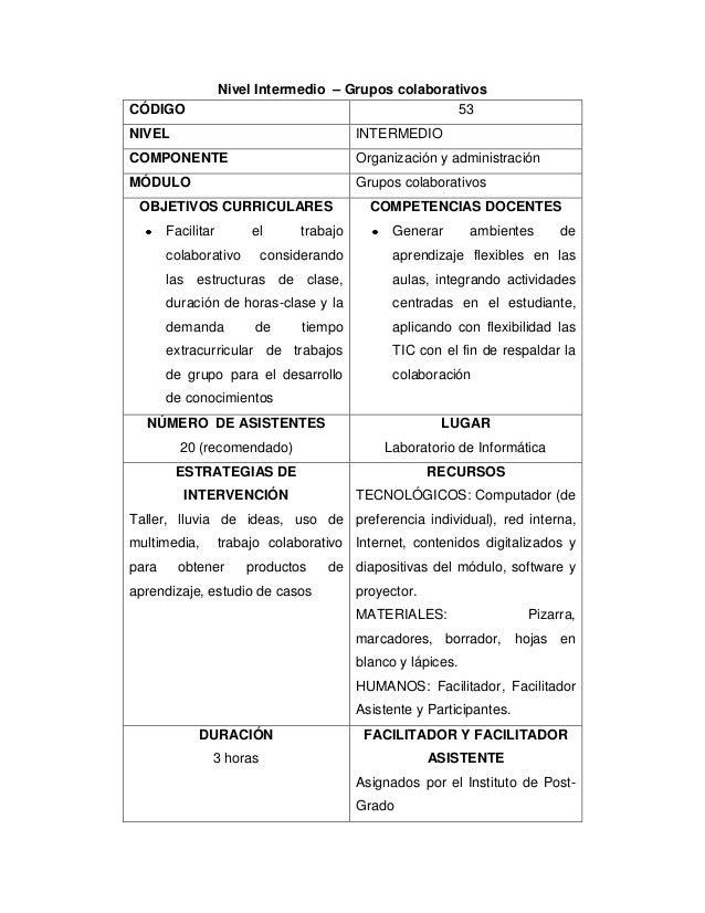 Nivel Intermedio – Grupos colaborativos CÓDIGO 53 NIVEL INTERMEDIO COMPONENTE Organización y administración MÓDULO Grupos ...