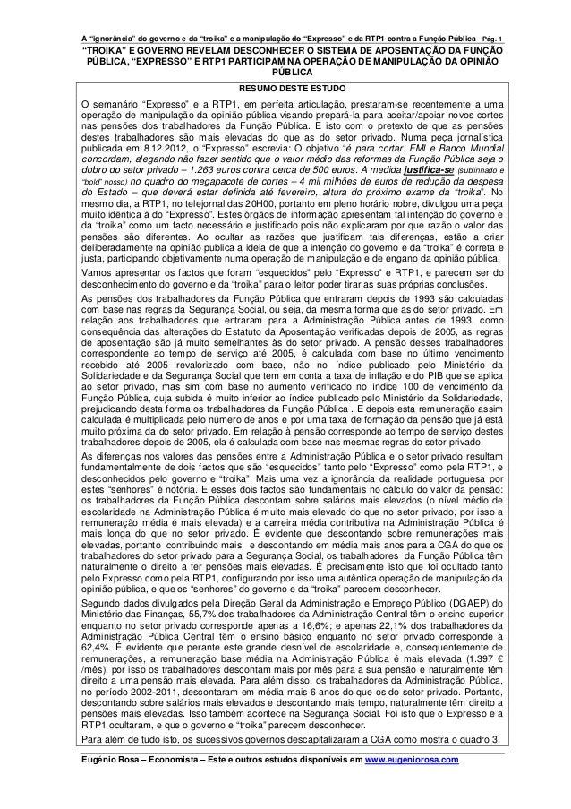 """A """"ignorância"""" do governo e da """"troika"""" e a manipulação do """"Expresso"""" e da RTP1 contra a Função Pública Pág. 1""""TROIKA"""" E G..."""