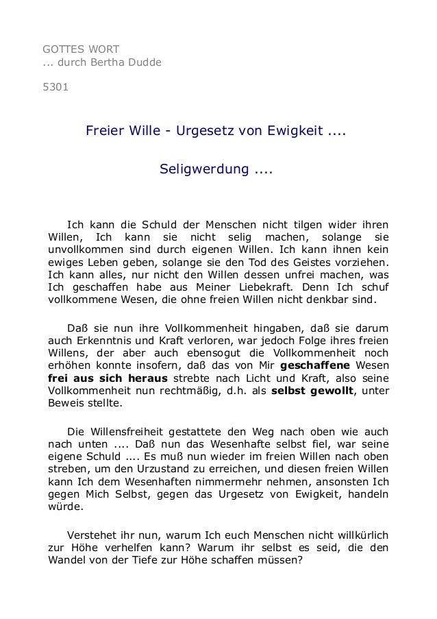 GOTTES WORT ... durch Bertha Dudde 5301 Freier Wille - Urgesetz von Ewigkeit .... Seligwerdung .... Ich kann die Schuld de...