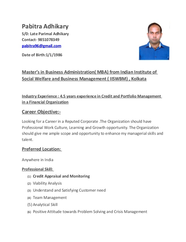 pabitra adhikary resume credit manager
