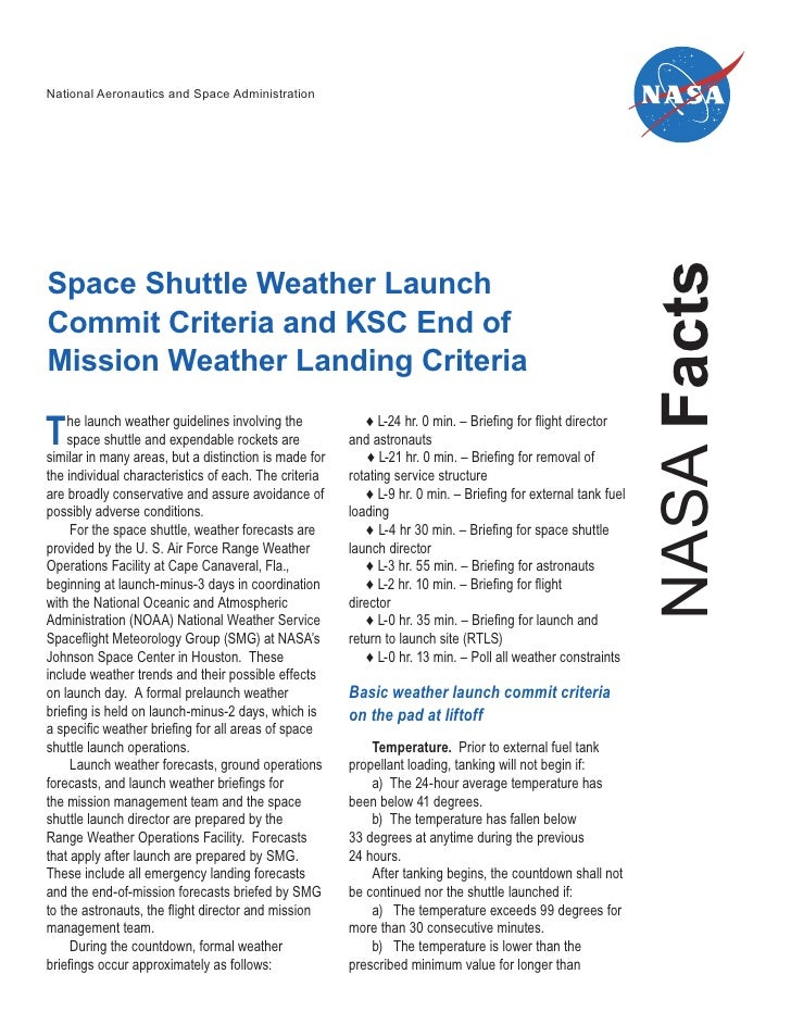 Shuttle Weather Criteria