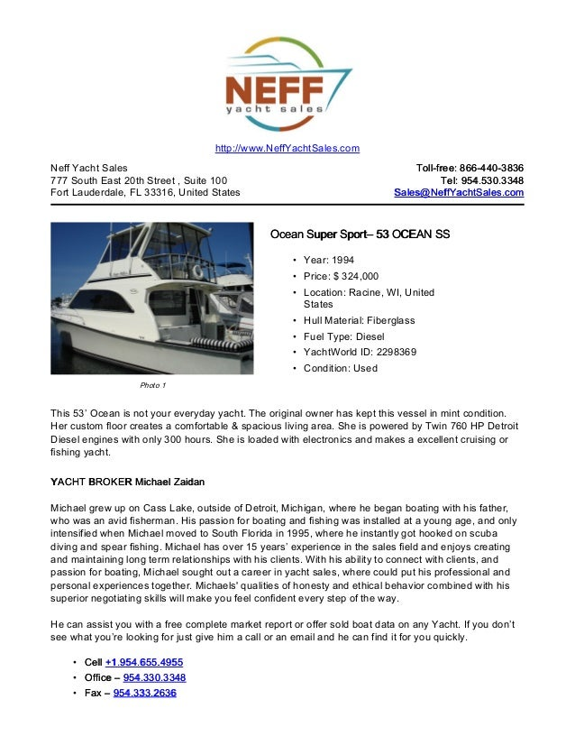 53' 1994 ocean super sport yacht for sale   neff yacht sales