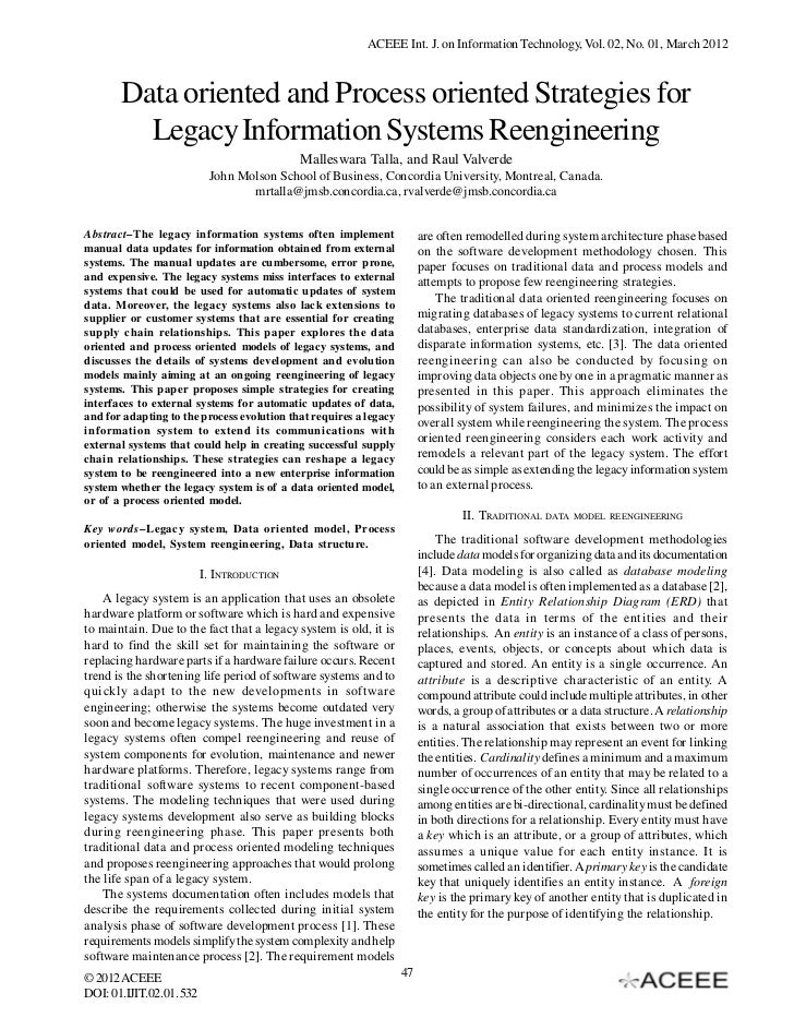 ACEEE Int. J. on Information Technology, Vol. 02, No. 01, March 2012       Data oriented and Process oriented Strategies f...