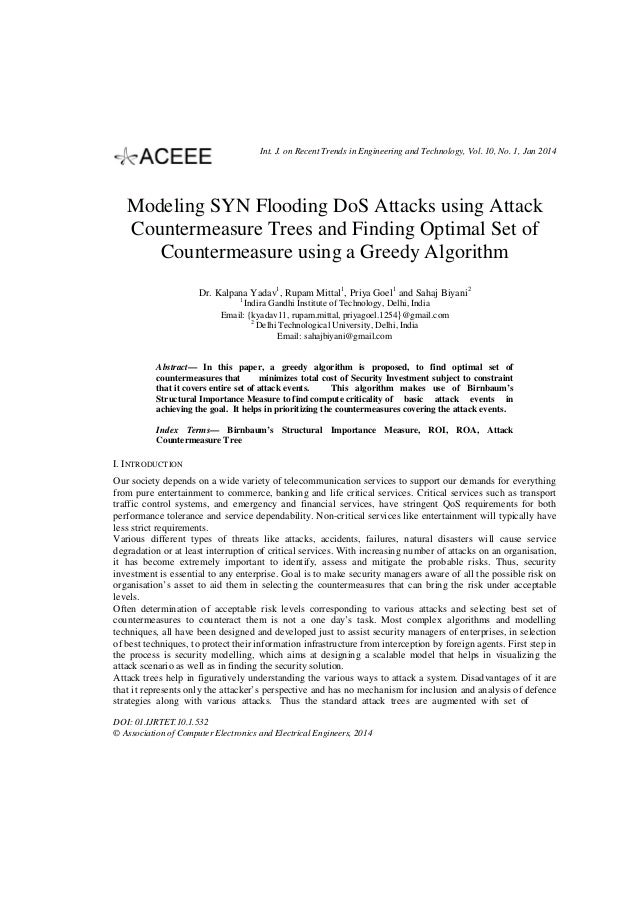 Int. J. on Recent Trends in Engineering and Technology, Vol. 10, No. 1, Jan 2014  Modeling SYN Flooding DoS Attacks using ...