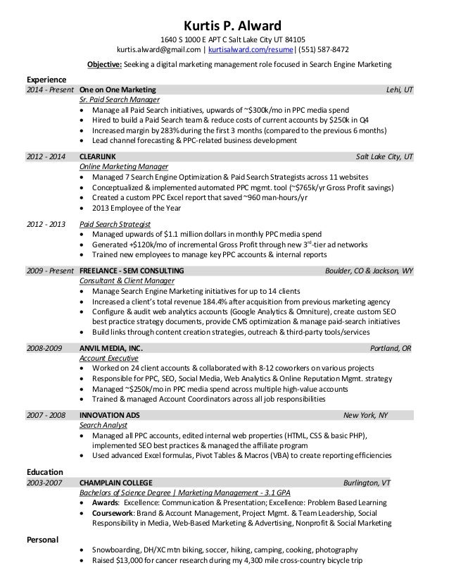 Current Resume Trends. Alward Resume 2015