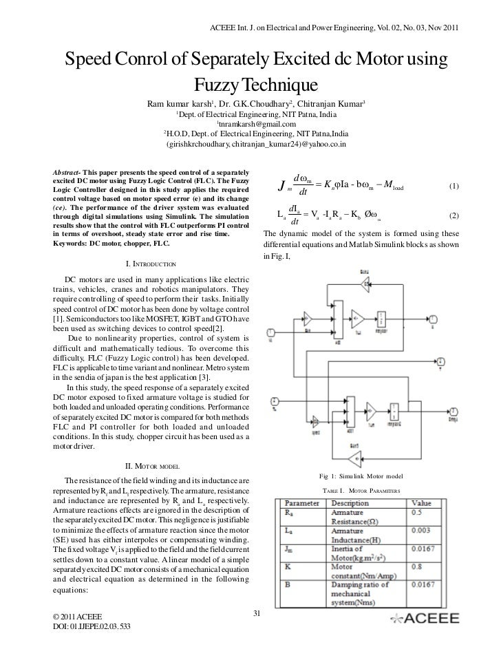 ACEEE Int. J. on Electrical and Power Engineering, Vol. 02, No. 03, Nov 2011   Speed Conrol of Separately Excited dc Motor...