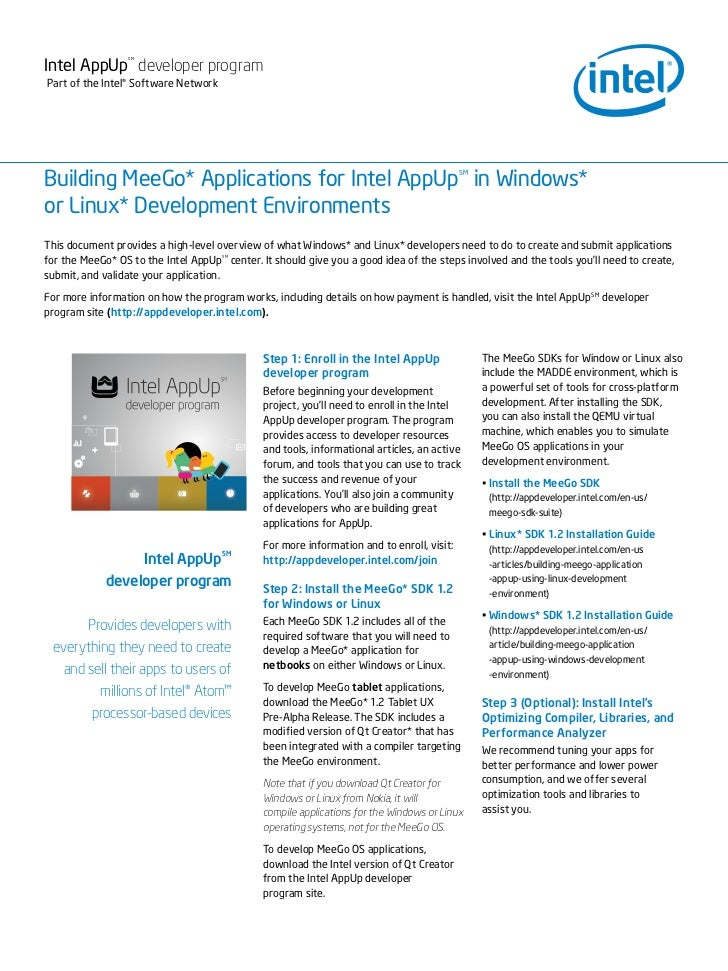 Intel AppUp developer program                 SMPart of the Intel® Software NetworkBuilding MeeGo* Applications for Intel ...