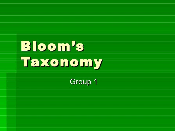 Bloom'sTaxonomy    Group 1