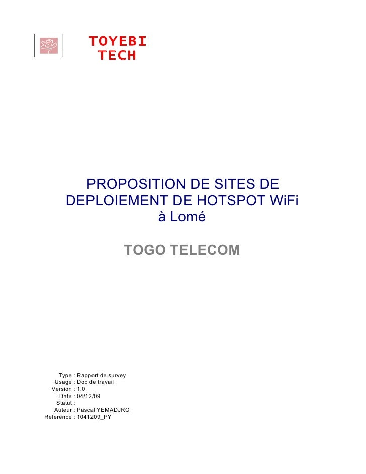 TOYEBI                     TECH               PROPOSITION DE SITES DE         DEPLOIEMENT DE HOTSPOT WiFi                 ...
