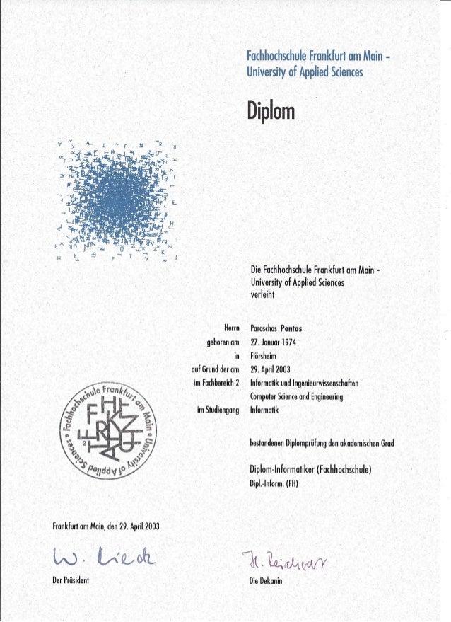 Frankfurt om Main, de~29.Ap~iI:2003 . , l~0.,V~~' Der Präsident. . ,' . ' -Facbhochschule Frankfurt·am Main,- , University...