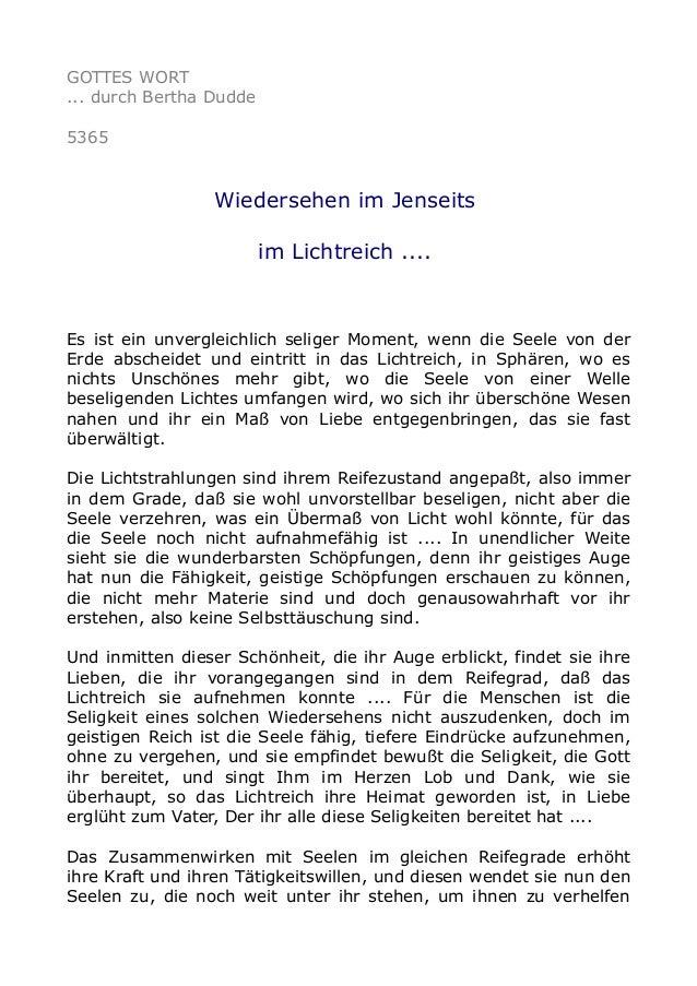 GOTTES WORT ... durch Bertha Dudde 5365 Wiedersehen im Jenseits im Lichtreich .... Es ist ein unvergleichlich seliger Mome...