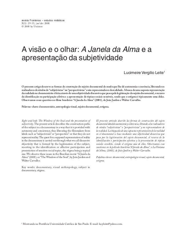 1 Mestranda na Pontifícia Universidade Católica de São Paulo. E-mail: lucyleite@yahoo.com. revista Fronteiras – estudos mi...