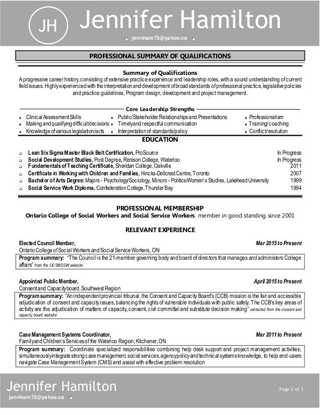 Professional resume hamilton ontario
