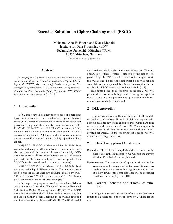 Extended Substitution Cipher Chaining mode (ESCC)                                    Mohamed Abo El-Fotouh and Klaus Diepo...