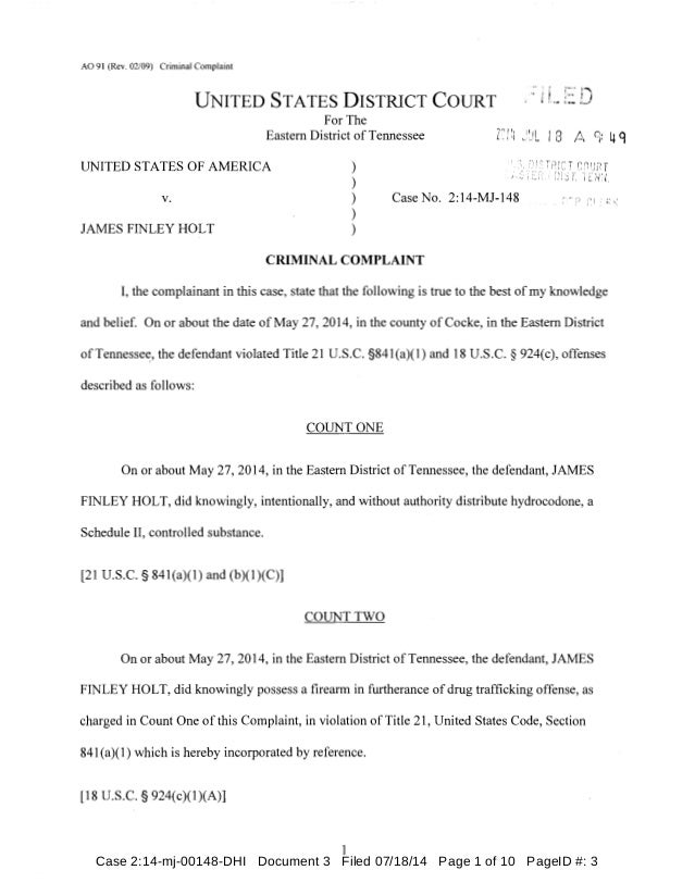 AO 91 (Rev. 02/09) Criminal Complaint UNITED STATES DISTRICT COURT For The Eastern District ofTennessee UNITED STATES OF A...