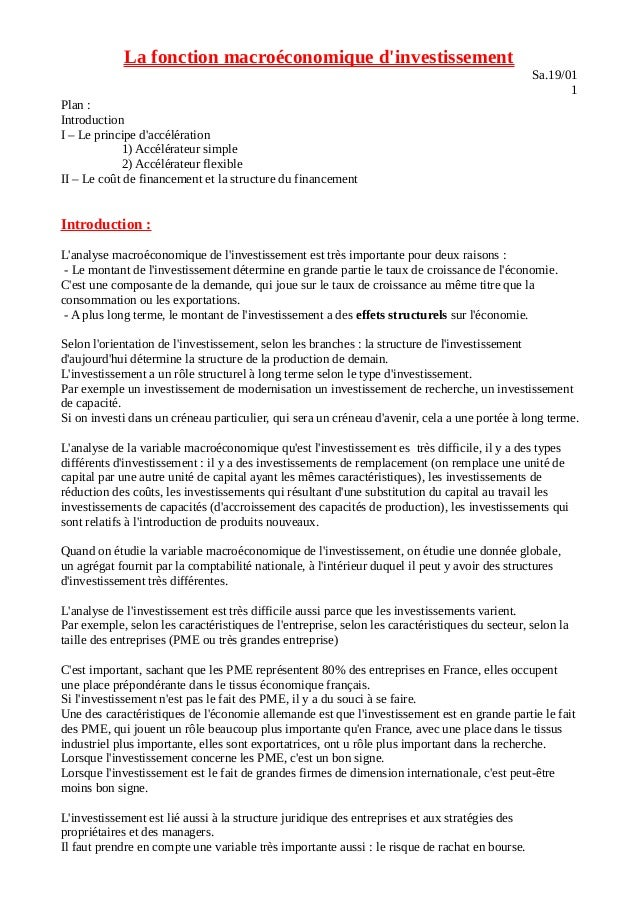 La fonction macroéconomique d'investissement Sa.19/01 1 Plan : Introduction I – Le principe d'accélération 1) Accélérateur...