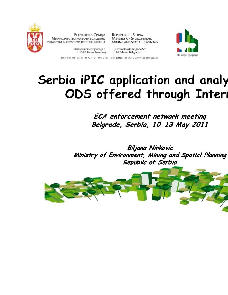 Serbia iPIC application and analysis of      ODS offered through Internet                     ECA enforcement network meet...