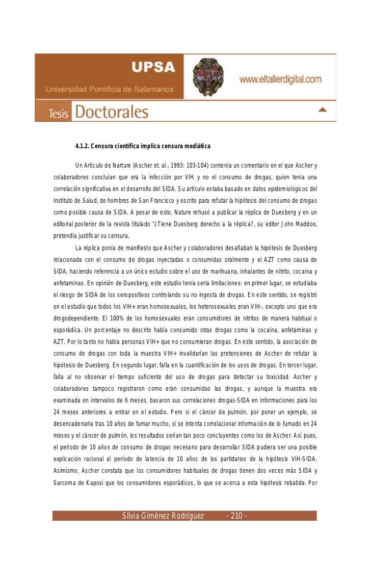 4.1.2. Censura científica implica censura mediática         Un Artículo de Narture (Ascher et. al., 1993: 103-104) contení...