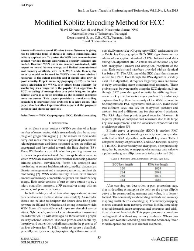 Full Paper Int. J. on Recent Trends in Engineering and Technology, Vol. 8, No. 1, Jan 2013  Modified Koblitz Encoding Meth...
