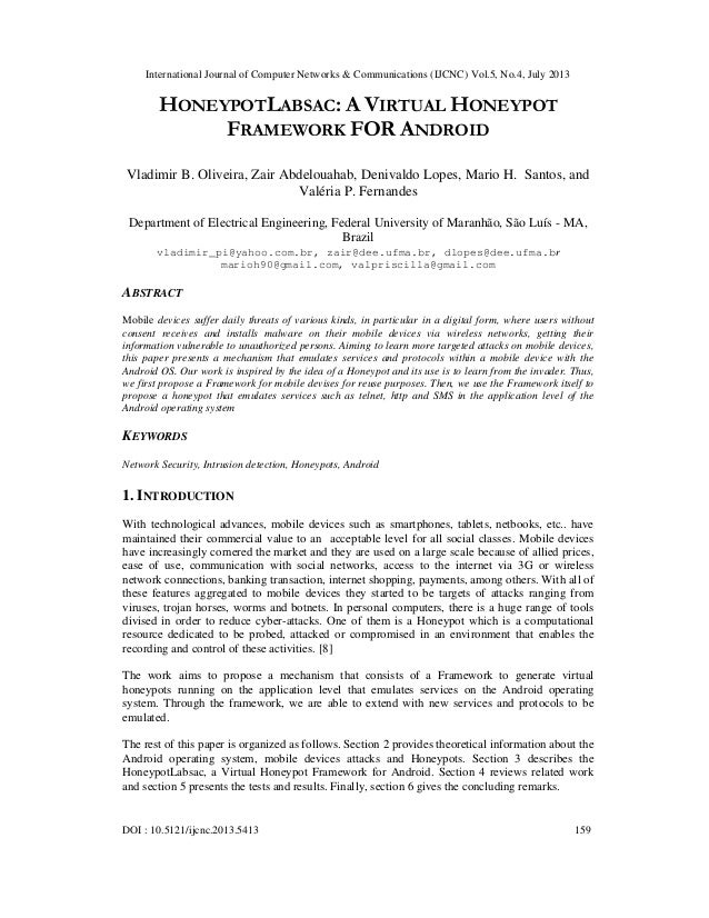 International Journal of Computer Networks & Communications (IJCNC) Vol.5, No.4, July 2013 DOI : 10.5121/ijcnc.2013.5413 1...