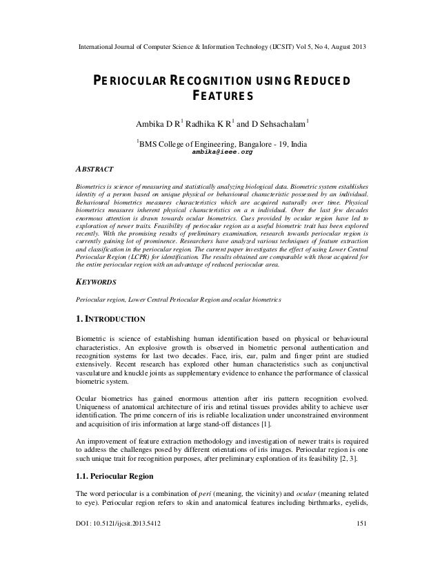 PERIOCULAR RECOGNITION USING REDUCED FEATURES