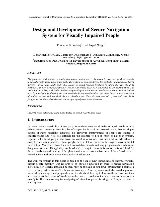 Design and Development of Secure Navigation System for Visually Impaired People