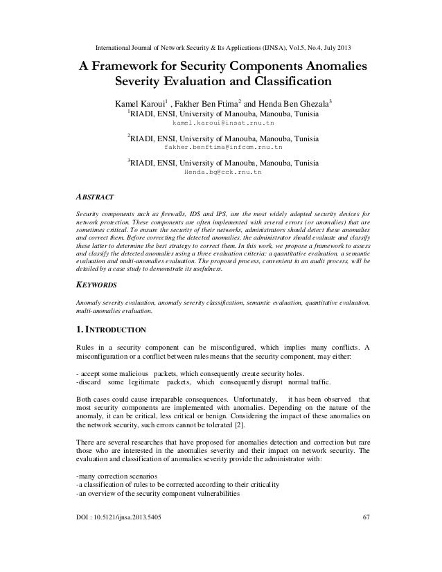 A Framework for Security Components Anomalies Severity Evaluation and Classification