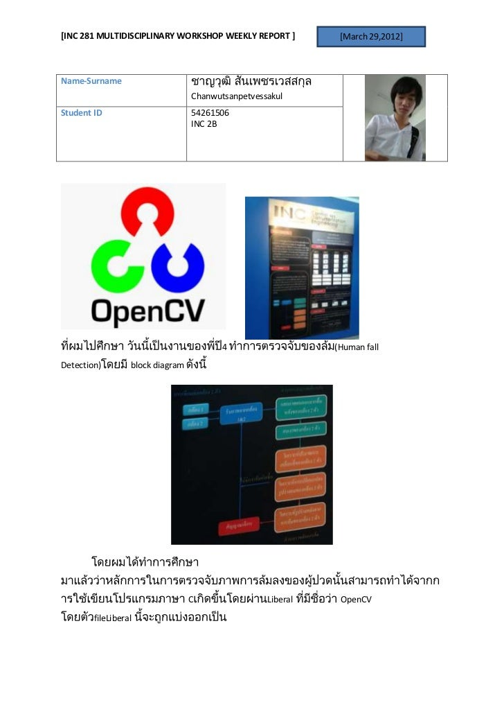[INC 281 MULTIDISCIPLINARY WORKSHOP WEEKLY REPORT ]           [March 29,2012]Name-Surname                                 ...