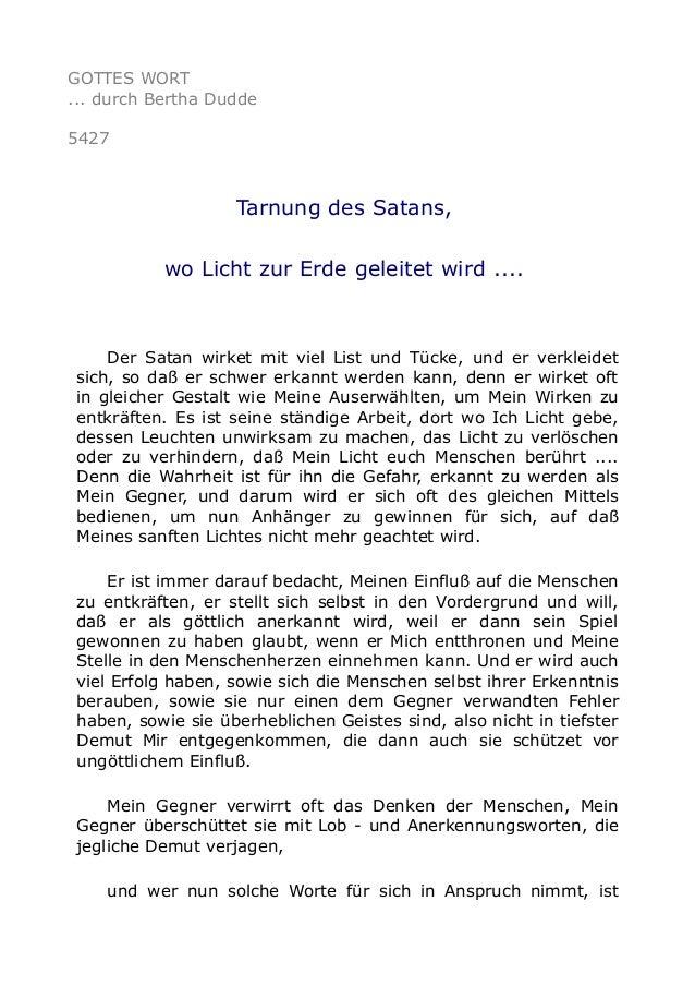 GOTTES WORT ... durch Bertha Dudde 5427 Tarnung des Satans, wo Licht zur Erde geleitet wird .... Der Satan wirket mit viel...