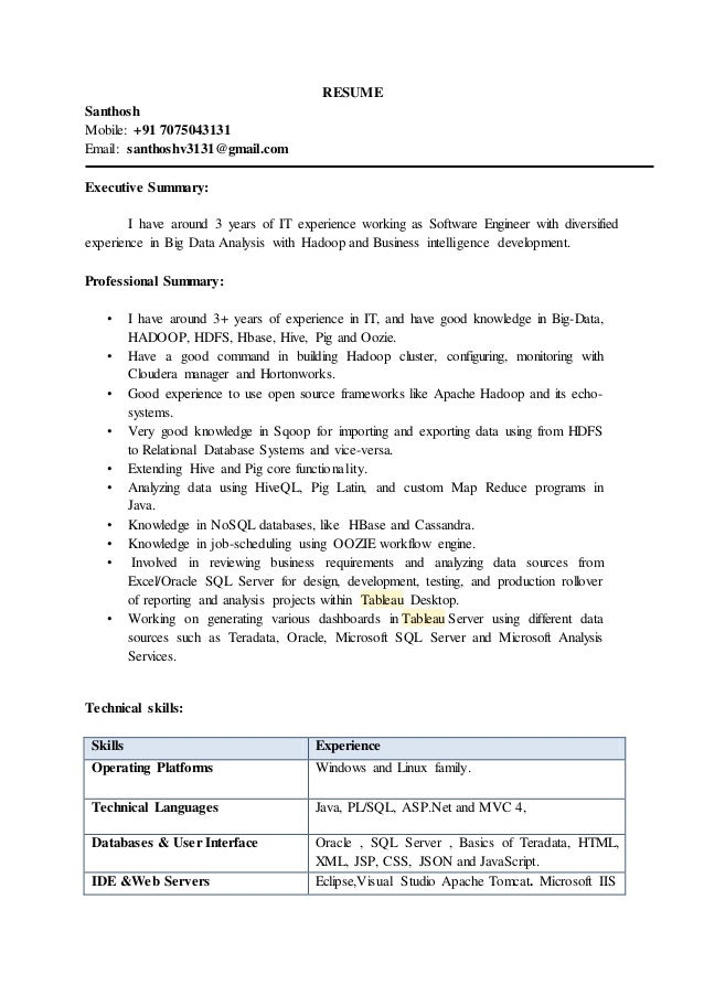 Big Data Resume