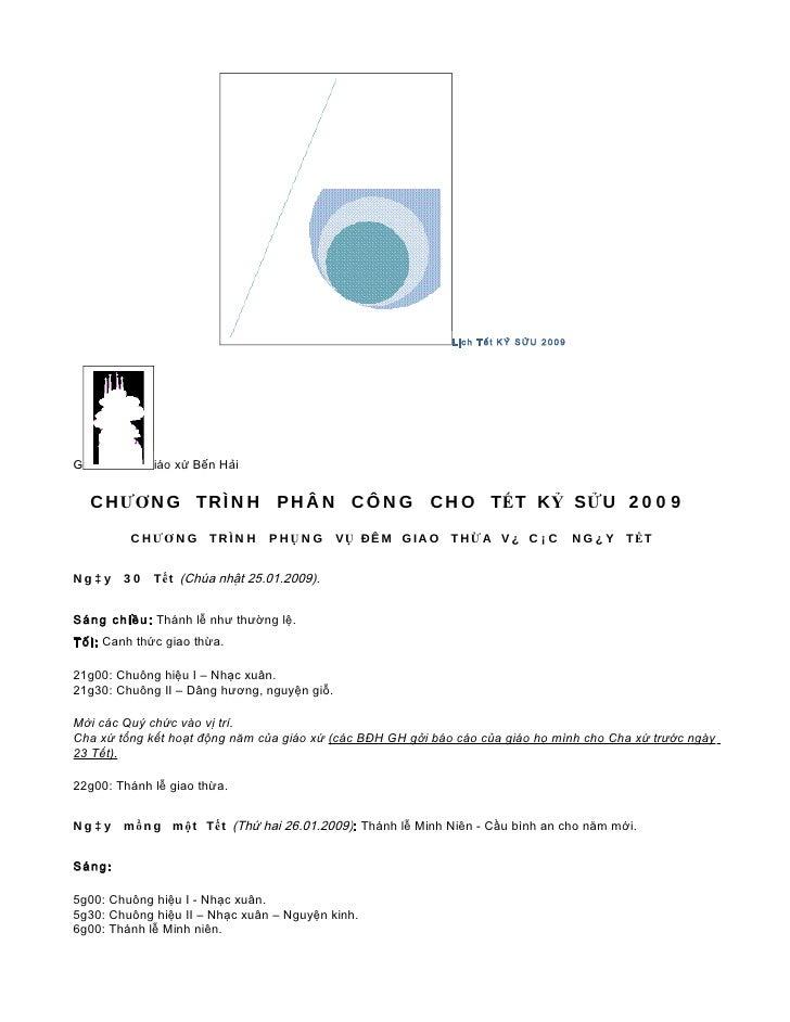Lịch Tết KỶ SỬU 2009     G            iáo xứ Bến Hải       C H ƯƠ N G T R Ì N H P H Â N C Ô N G                    C H O T...