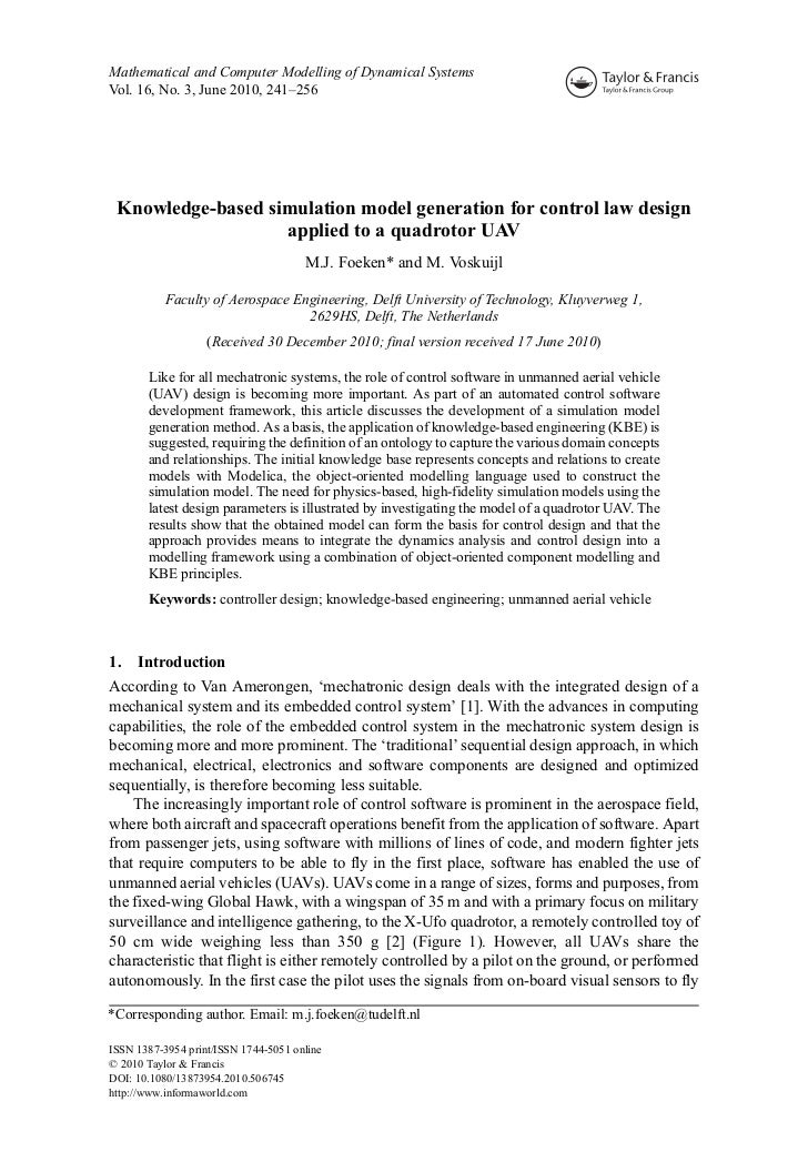 Knowledge-based simulation model generation for control law design applied to a quadrotor UAV