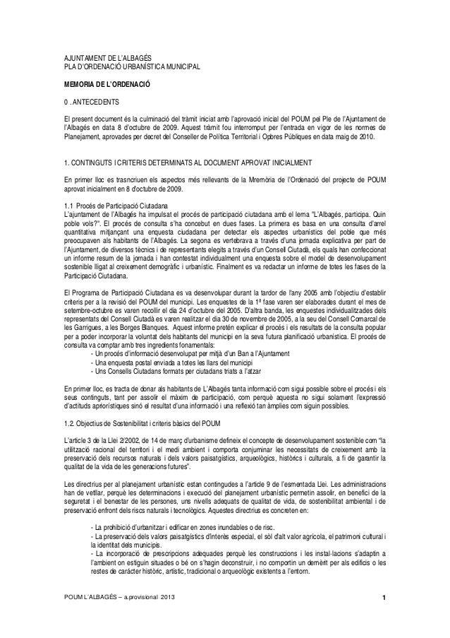 POUM L'ALBAGÉS – a.provisional 2013 1 AJUNTAMENT DE L'ALBAGÉS PLA D'ORDENACIÓ URBANÍSTICA MUNICIPAL MEMORIA DE L'ORDENACIÓ...