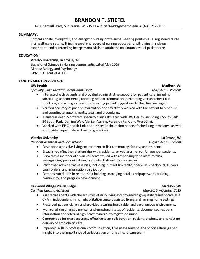 professional nursing resume brandon stiefelprofessional nursing resume brandon stiefel brandon t stiefel samhill drive sun prairie