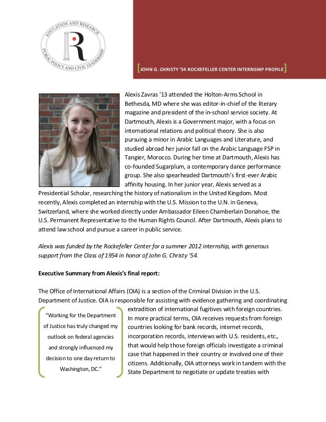 Named Internship Profile Summary - Alexis Zavras (Class of 1954)