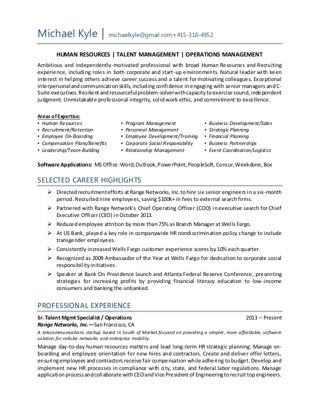 human resource generalist resumes