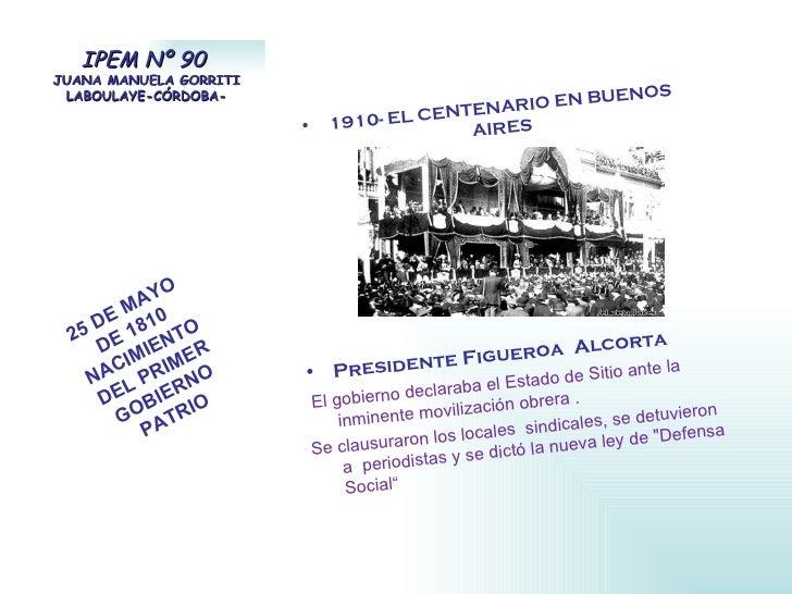 IPEM Nº 90  JUANA MANUELA GORRITI LABOULAYE-CÓRDOBA- <ul><li>1910- EL CENTENARIO EN BUENOS AIRES </li></ul><ul><li>Preside...