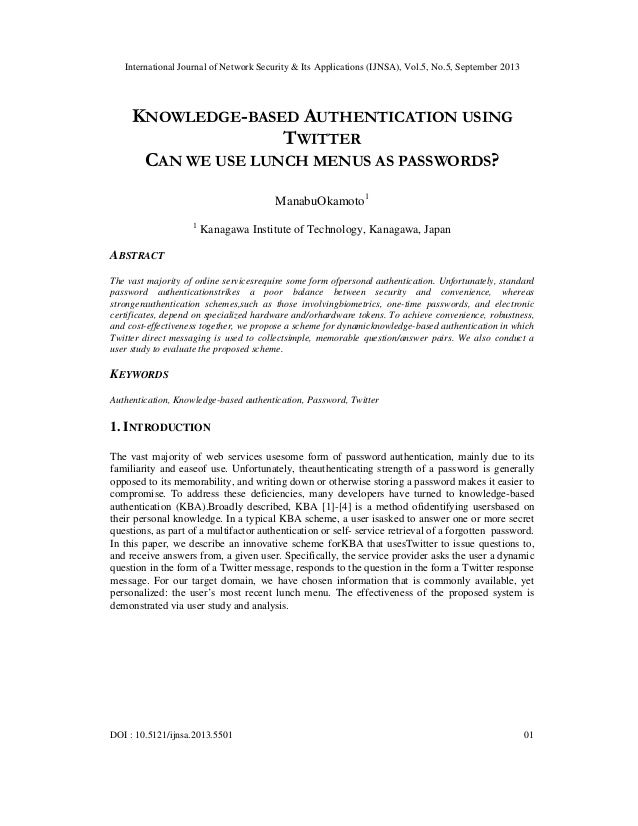 KNOWLEDGE-BASED AUTHENTICATION USING TWITTER CAN WE USE LUNCH MENUS AS PASSWORDS?