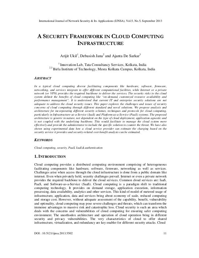 A SECURITY FRAMEWORK IN CLOUD COMPUTING INFRASTRUCTURE